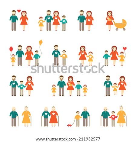 Happy family set - stock vector