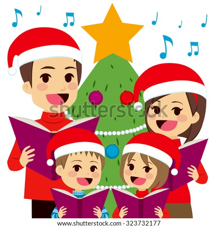 Happy family singing carols in front of Christmas tree at home - stock vector