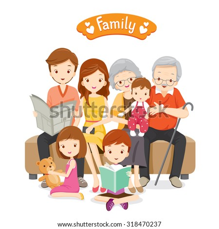 Happy Family Sitting on Sofa and Floor, Relationship, Togetherness, Vacations, Holiday, Lifestyle - stock vector