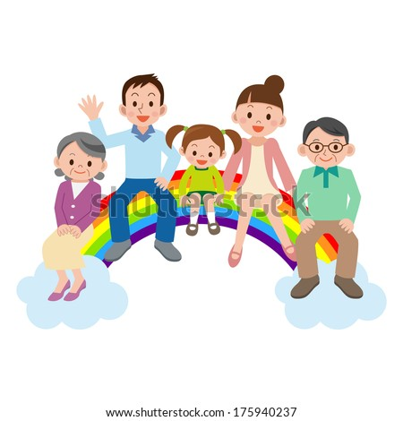 Happy family sitting on the rainbow - stock vector