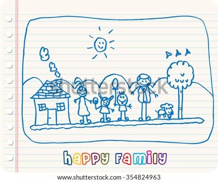 Happy Family sketch - stock vector