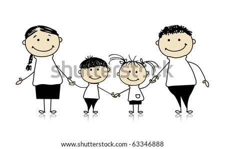 Happy family smiling together, drawing sketch - stock vector