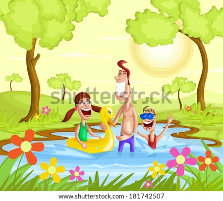 Happy family splashing in pool with father and kids - stock vector