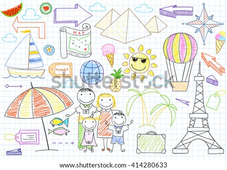 Happy family travelers - mom, dad and two children. Sketch on notebook page - stock vector