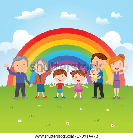 Happy family under the rainbow. A happy family gesturing under the rainbow. - stock vector