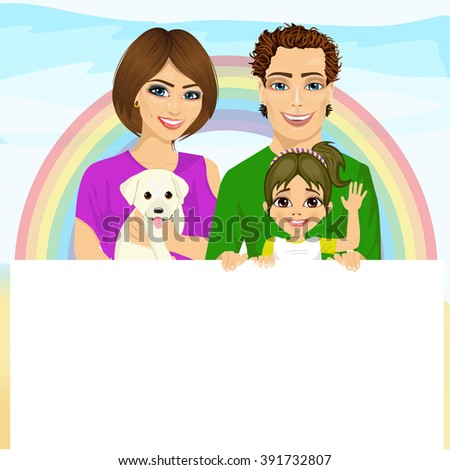 happy family with pet dog holding a white blank billboard in front of rainbow - stock vector