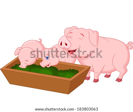 Happy farm pig family  - stock vector