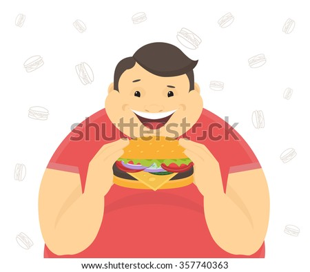 Happy fat man eating a big hamburger. Flat concept illustration of bad habits isolated on white background with contour burger symbols - stock vector