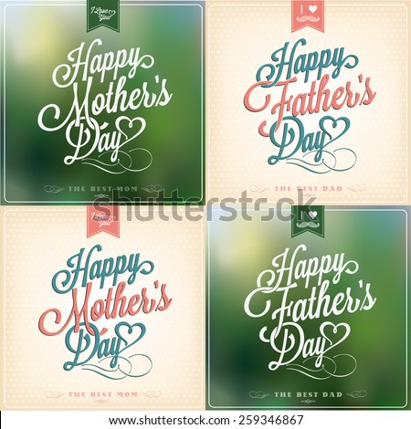 Happy Father's Day And Mother's Day Typographical Background Set - stock vector
