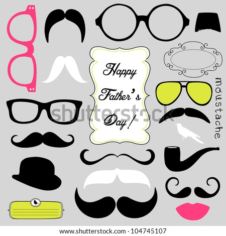 Happy Father's day background, spectacles and mustaches, retro style - stock vector