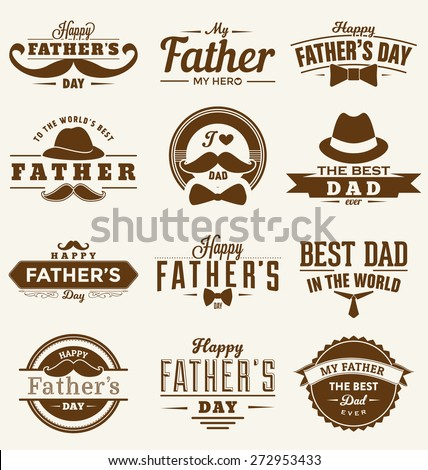 Happy Father's Day Design Collection - A set of twelve brown colored vintage style Father's Day Designs on light background - stock vector