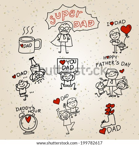 Happy Father's Day hand drawing cartoon concept - stock vector