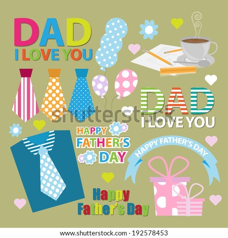 happy fathers day - stock vector