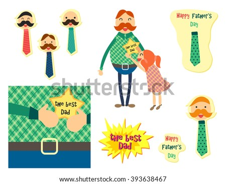 Happy Fathers Day concept with happy father and his daughter. Dad with tie for sticker, banner, web, poster, print. Vector - stock vector