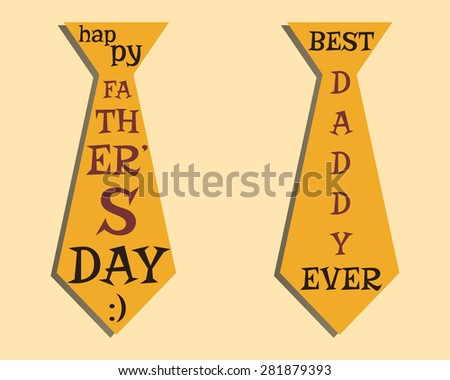 Happy Fathers Day elements. Orange Tie and lettering inside. Best for thematic party. Isolated on bright background. Vector illustration - stock vector