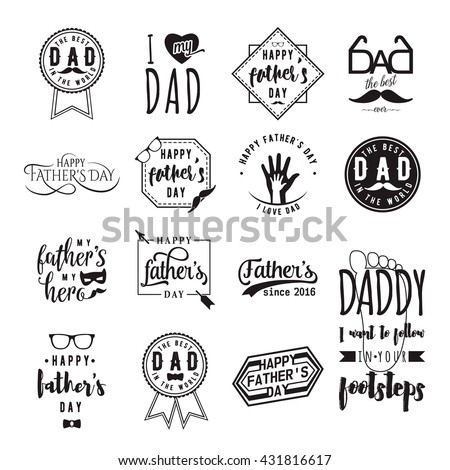 Happy fathers day greeting monochrome overlay. Dad felicitation card set. Man celebrating badge, label, insignia, logo, graphic elements for your design. Congratulation concept - stock vector
