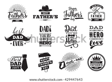 Happy fathers day set. Vector typography. Vintage lettering for greeting cards, banners, t-shirt design. You are the best dad. - stock vector