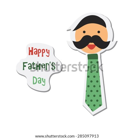 Happy Fathers Day sticker with happy father - stock vector