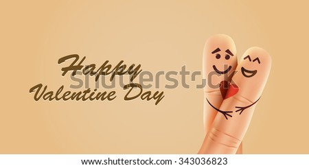 Happy finger couple in love with painted smiley and hugging - stock vector