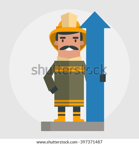 Happy fireman. Vector illustration of flat style - stock vector