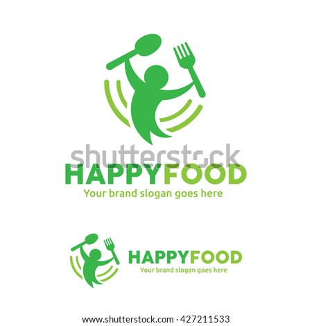 Happy Food Logo, People with Fork and Spoon Logo - stock vector
