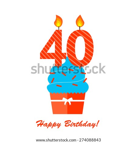 Happy 40 Forty Birthday Anniversary card with cupcake and candles in flat design style, vector illustration - stock vector