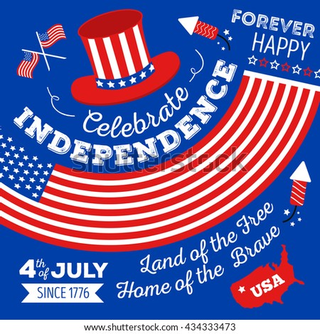 Happy fourth of July. Vector set of design elements for American Independence Day on blue background. Vector Illustration.  - stock vector