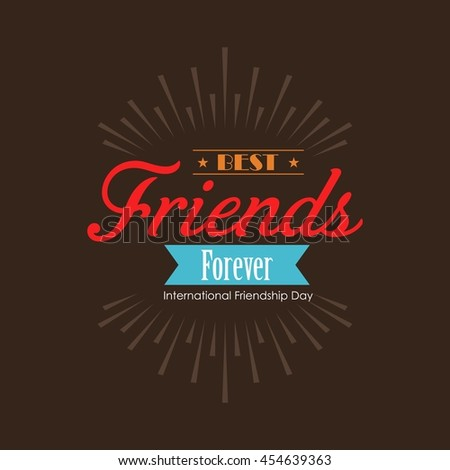 Happy Friends Forever splash label background - stock vector