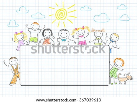 Happy friends with banner. Sketch on notebook page - stock vector