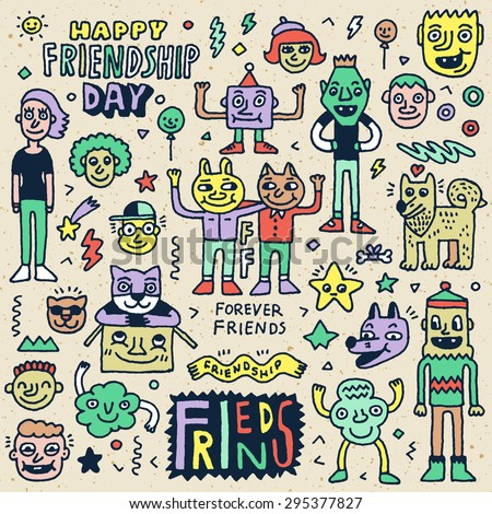 Happy Friendship Day. Funny Friends Cartoon Doodle Set. Vector Hand Drawn Color Illustration Pattern. - stock vector