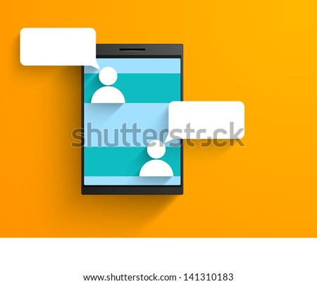 Happy friendship day modern concept with friends chatting on mobile. - stock vector