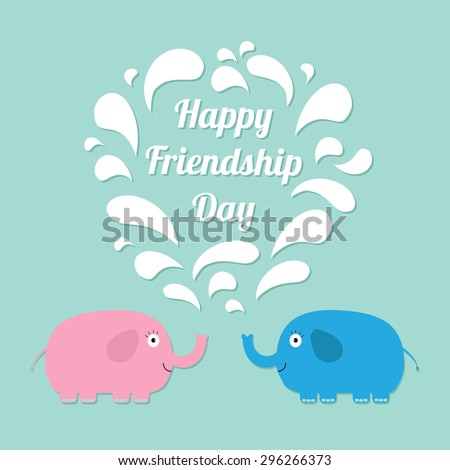Happy Friendship Day Pink and blue elephants with heart fountain Flat design Vector illustration - stock vector