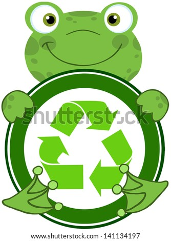 Happy Frog Hugging Banner With Recycle Symbol. Vector Illustration - stock vector