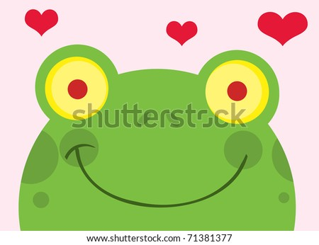 Happy Frog With Hearts - stock vector