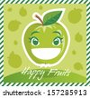 Happy Fruits Apple - stock vector