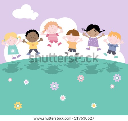 Happy fun characters- children having fun -jumping in the air. - stock vector