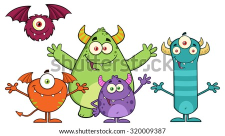 Happy Funny Monsters Cartoon Characters. Vector Illustration Isolated On White - stock vector