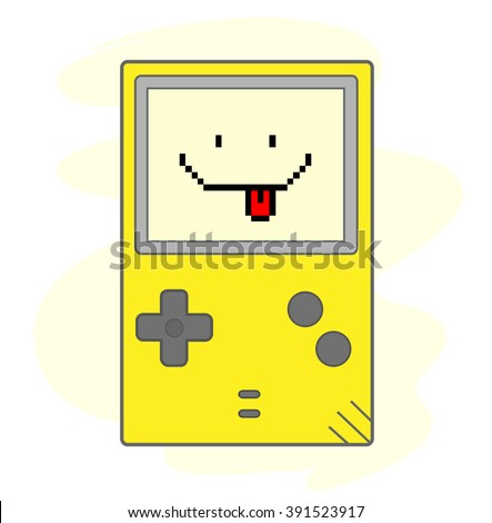 Happy Gaming, a hand drawn vector illustration of a handheld gaming device, the text, game device, and background are on separate groups for easy editing. - stock vector