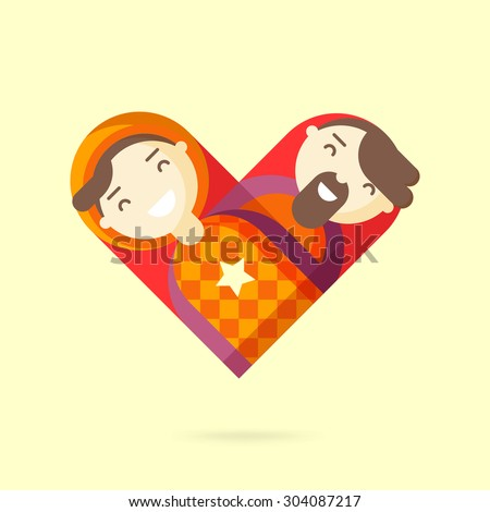 Happy gay couple. Homosexual design element. Vector illustration. - stock vector