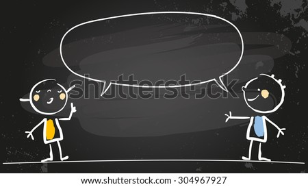 Happy girl and boy speaking a message, with blank speech balloon. Doodle style hand drawn illustration, chalk on blackboard vector line art. Communication concept. - stock vector