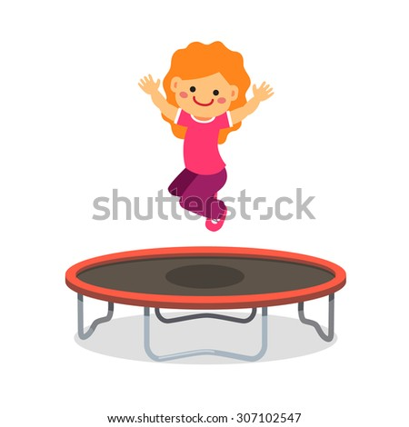 Happy girl jumping on trampoline. Flat style cartoon vector illustration isolated on white background. - stock vector