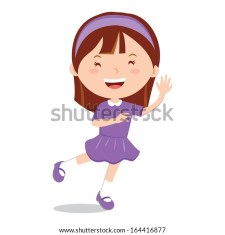 Happy girl smiling and waving - stock vector