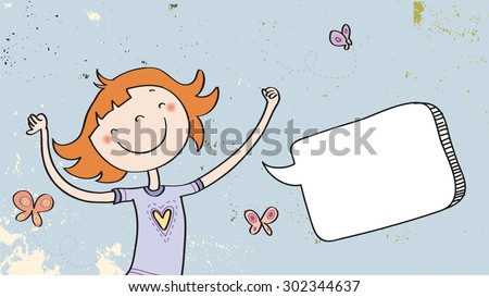 Happy Girl speaking a message, with blank speech balloon. Doodle style hand drawn illustration, vector line art. Communication concept. - stock vector