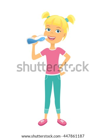 Happy girl with bottle of water. Children drinking water - stock vector
