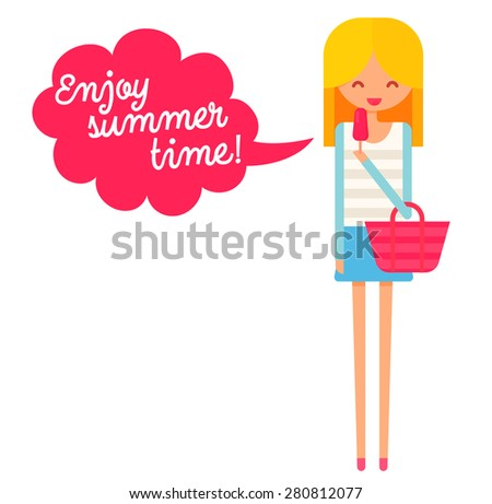 Happy girl with ice cream with speech bubble text enjoy summer time. Flat vector character. - stock vector