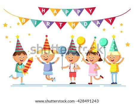 Happy girls and boys with balloon going to party. Children party. Birthday party. Young male and female cartoon character in white background.  - stock vector