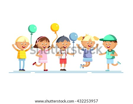 Happy girls and boys with balloon going to party. Children patry. Birthday party. Young male and female cartoon character in white background. Happy childhood. Party kids. - stock vector
