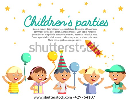 Happy girls and boys with balloon going to party. Children patry card. Birthday party baner. Young male and female cartoon character in white background. Happy childhood. Party kids. - stock vector