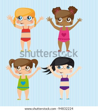 Happy girls on summer, isolated Vector Illustration - stock vector
