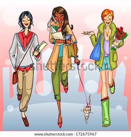 Happy girls walking down the street, friends - stock vector